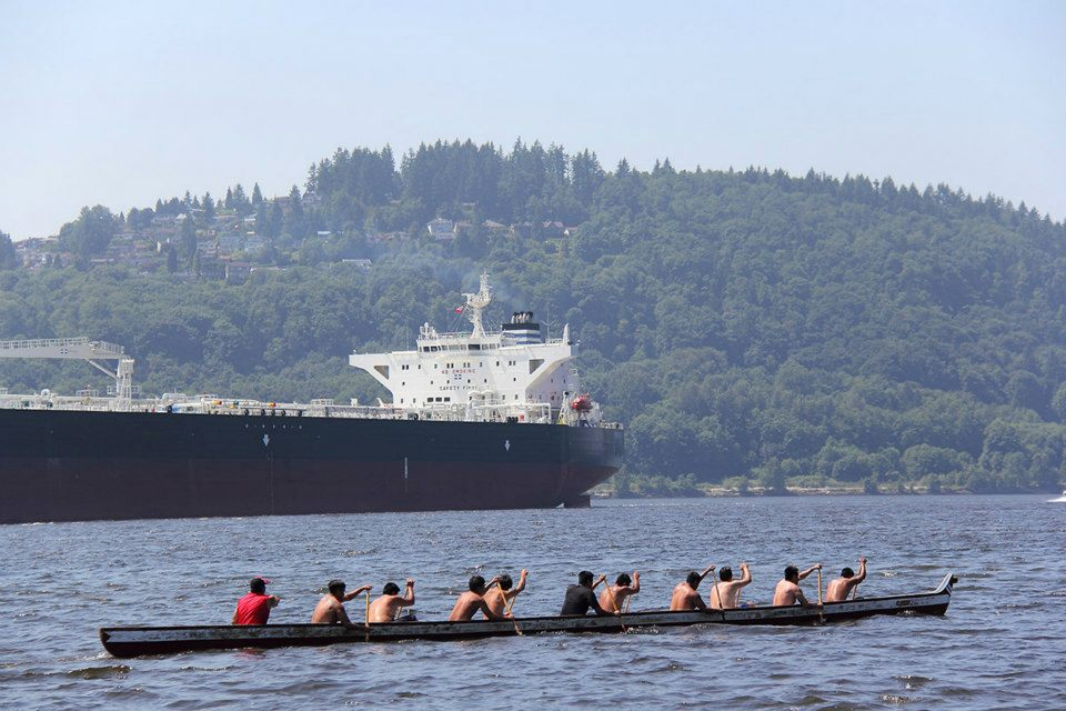 Canoes against Tankers At Cates Park/Whey-ah-Wichen